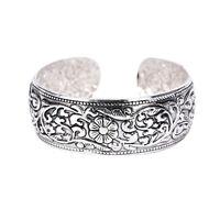 New Tibetan Silver Totem Bangle Carved Lucky Flower Bangle Cuff Bracelet