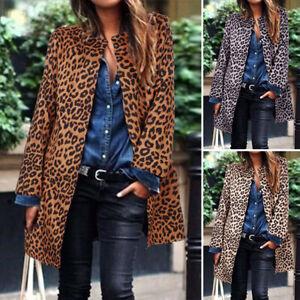 Femme-Cardigans-Imprime-leopard-Manche-longue-Manteau-Veste-Simple-Loisir-Plus