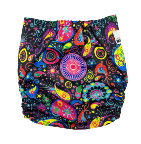 MODERN CLOTH NAPPIES MCN DIAPERS POTTY REUSABLE ADJUSTABLE PSYCHEDELIC SHELL