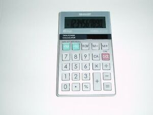 Sharp 10 Digit ElsiMate EL-377M Handheld Calculator Solar Powered