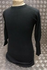 Genuine Swedish Army Cold Weather Ribbed Top Over-dyed Black - Size Medium - NEW