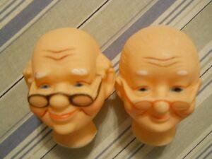 Grandma Grandpa Doll Heads Pair Glasses Vinyl Nos