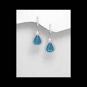 Statement-Formal-Wear-Sterling-Silver-Dangle-Earrings-Sea-Blue-Cubic-Zirconia