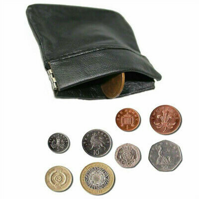 GENIUNE SOFT LEATHER SNAP TOP COIN//CASH POUCH BLACK SMALL PURSE