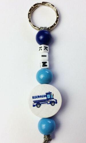 Auto-Schlüsselbund-Taschenanhänger  mit Namen und Polizeiauto