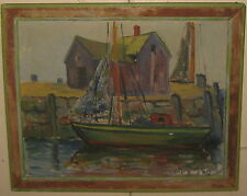 Vintage HALE BOWER ANTHONY 'Motif #1' ROCKPORT Sailboat OIL PAINTING - Cape Ann