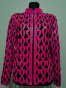 Pink Leather Jacket for Woman Coat Women Zipper Short Collar All Size Light D5