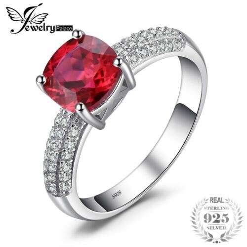 Created Red Engagement Ring 925 Sterling Silver Ring Fashion Design Fine Jewelry