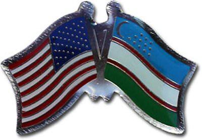 Wholesale Pack of 6 USA American Uzbekistan Friendship Flag Hat Cap lapel Pin