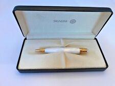 Italian Nova White Signum Ball Pen 18 KT gold trim BEAUTIFUL!! w/ Box