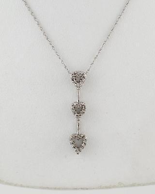Ladies Girls 14k White Gold 3 Heart Diamond Drop Pendant Necklace Chain 18 Ebay