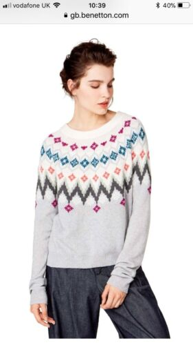Taille Pull Rond Pull Bennetton S Col Jacquard Xqw8an1Tx