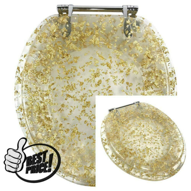 Amazing Ginsey Standard Resin Toilet Seat With Chrome Hinges Gold Foil Caraccident5 Cool Chair Designs And Ideas Caraccident5Info