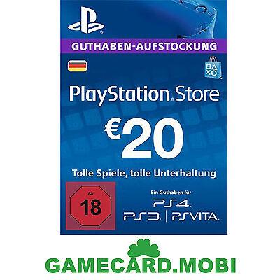 20 Euro PlayStation Store Card / 20€ EUR PSN Network Key PS3 PS4 PS Vita - DE
