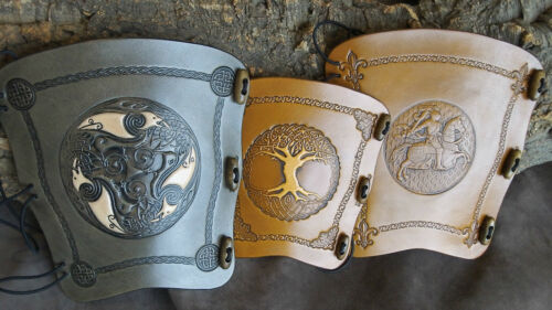 2 tone Tree of Life antique Medium brown leather archery arm guard,bow bracer
