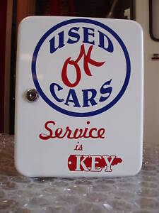 OK USED CARS  1950S GAS OIL SERVICE STATION KEY BOX NEW