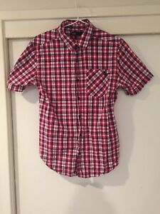 9744b83fd02 Details about Cotton On Men's Red Checkered Button Front Shirt Size S Good  Condition