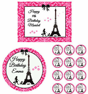 Eiffel Tower Paris Damask Edible Birthday Cake Cupcake Toppers Party