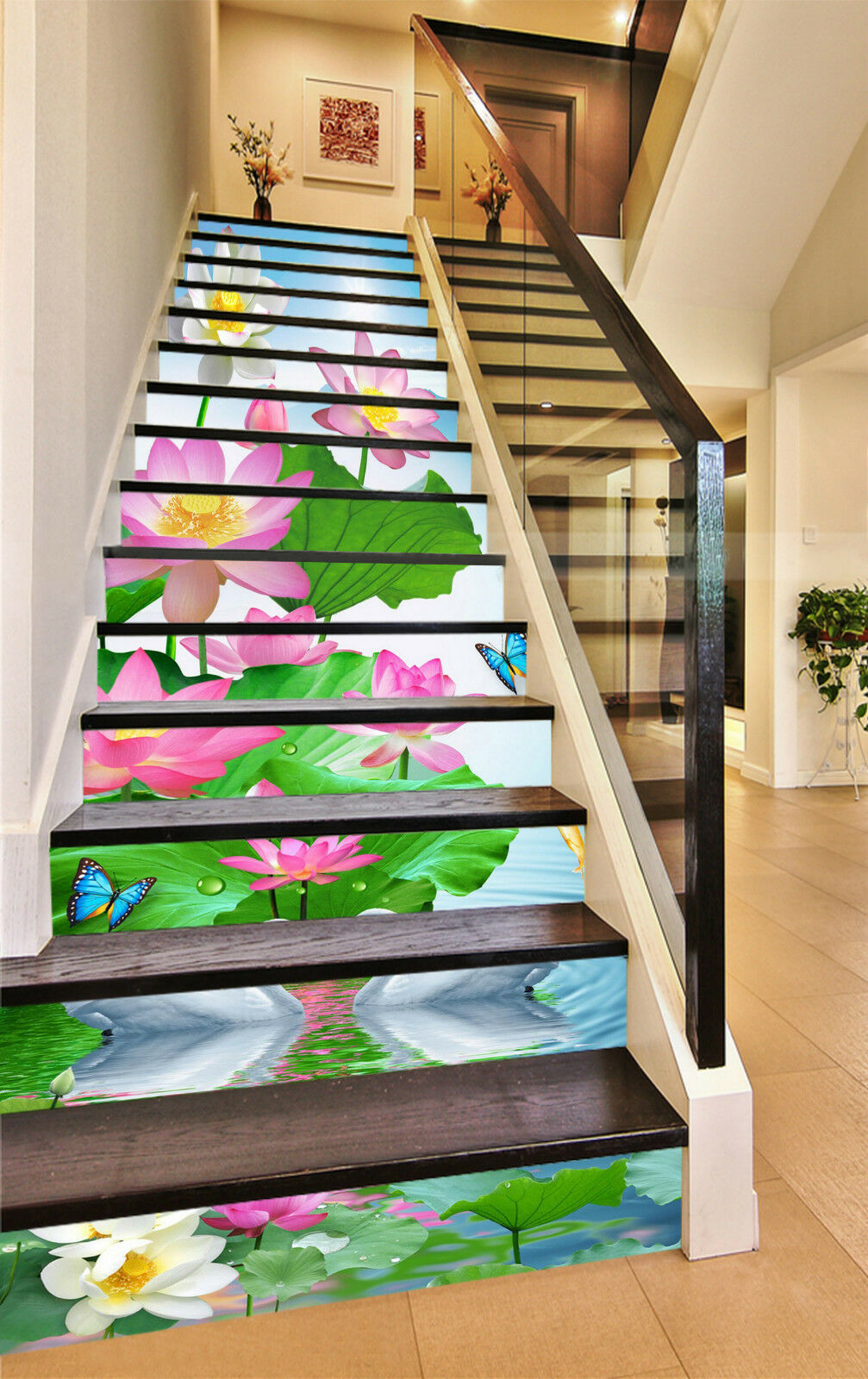 3D Lotus Schwan 276 Stair Risers Dekoration Fototapete Vinyl Aufkleber Tapete DE