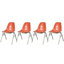 1960s Charles and Ray Eames Orange Fiberglass Shell Chairs for Herman Miller