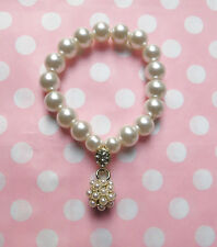 Stunning Faux Pearl Stretch Bracelet, Wedding, Bridal, 50s, Pearl Drop Cluster