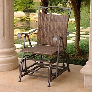 Awe Inspiring Details About International Caravan Valencia Wicker Outdoor Glider Chair Antique Brown Gmtry Best Dining Table And Chair Ideas Images Gmtryco