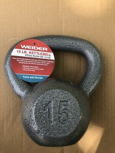 Weider Cast Iron 15lb Kettlebell 15 Lb Fast Free Shipping