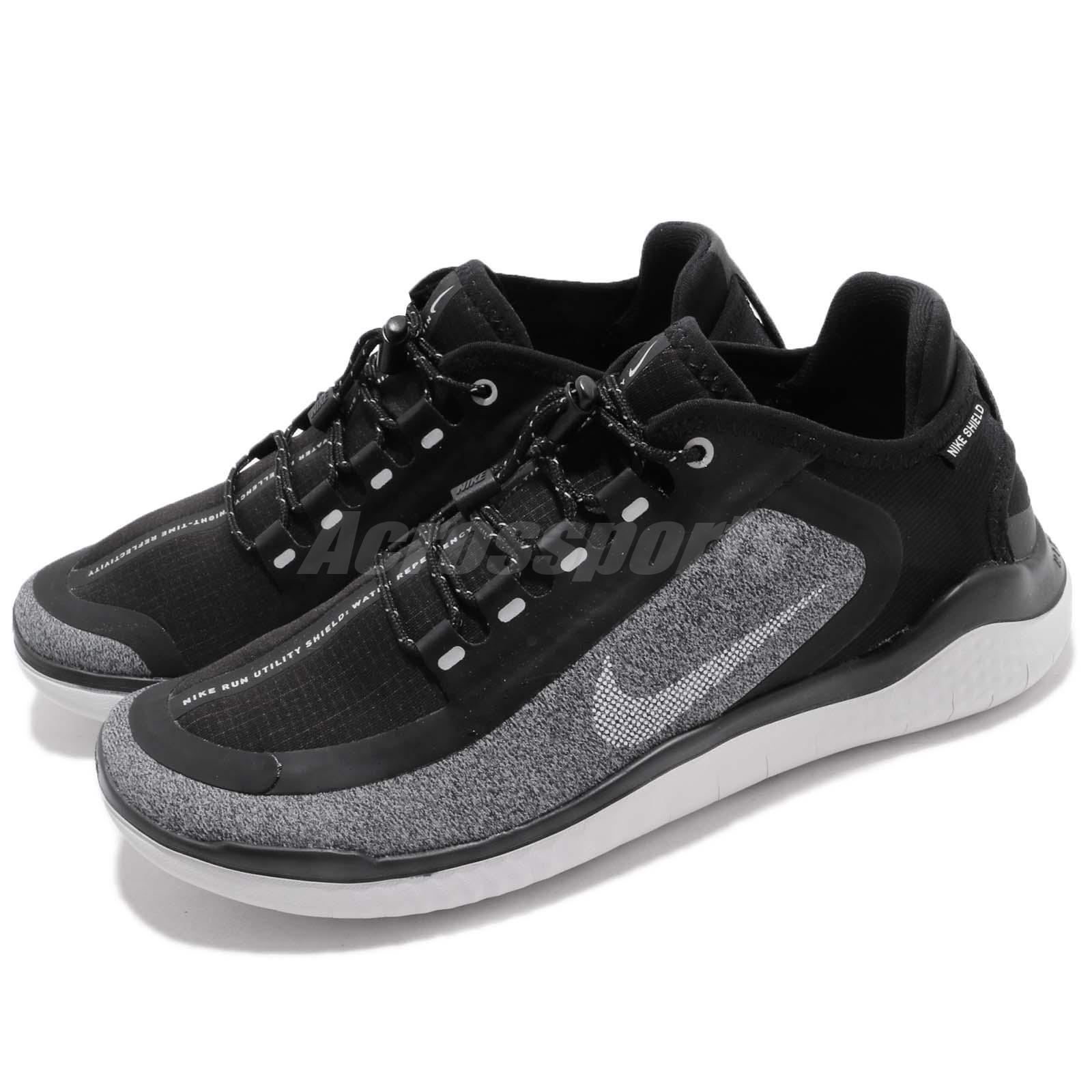 official photos 0607e 777fd Nike Nike Nike Wmns Free RN 2018 Shield Black White Grey WoHommes Running  Shoes AJ1978-002 1903e2