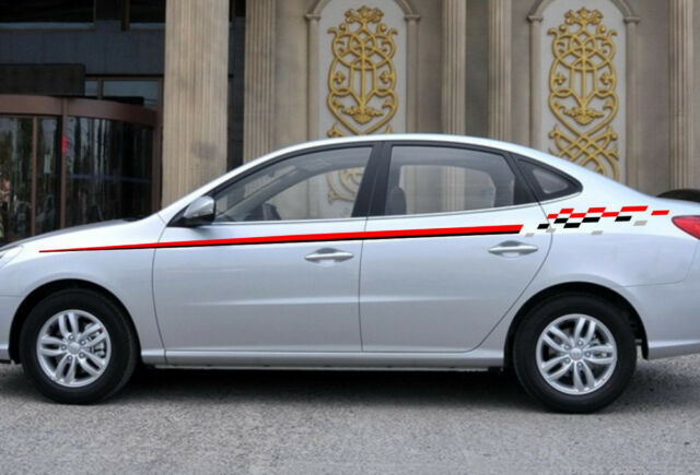 Car racing stripe flags for tiida vinyl upper door decals side stickers cb11