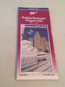 Map Of New York 2001.Details About 2001 02 Aaa Buffalo Niagara Falls Rochester New York Downtown Vicinity Map