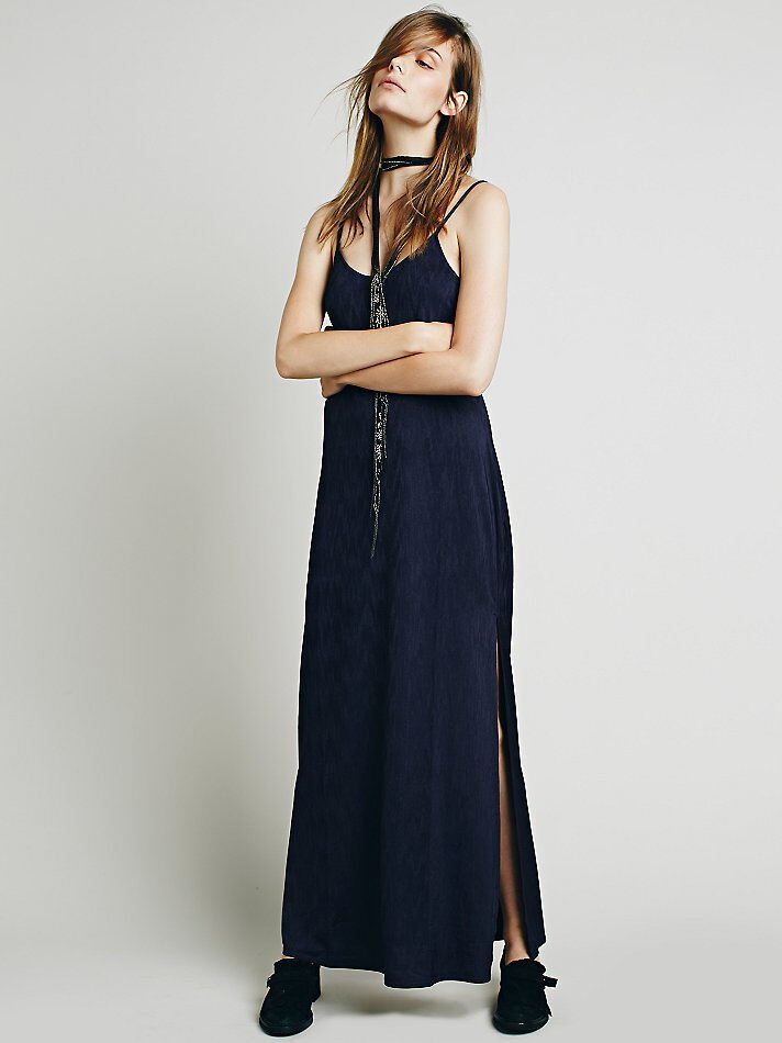 NWT FREE PEOPLE WOMEN SzS SHE SHE SHE MOVES JERSEY SLIP MAXI DRESS MIDNIGHT blueE  98. 52facd