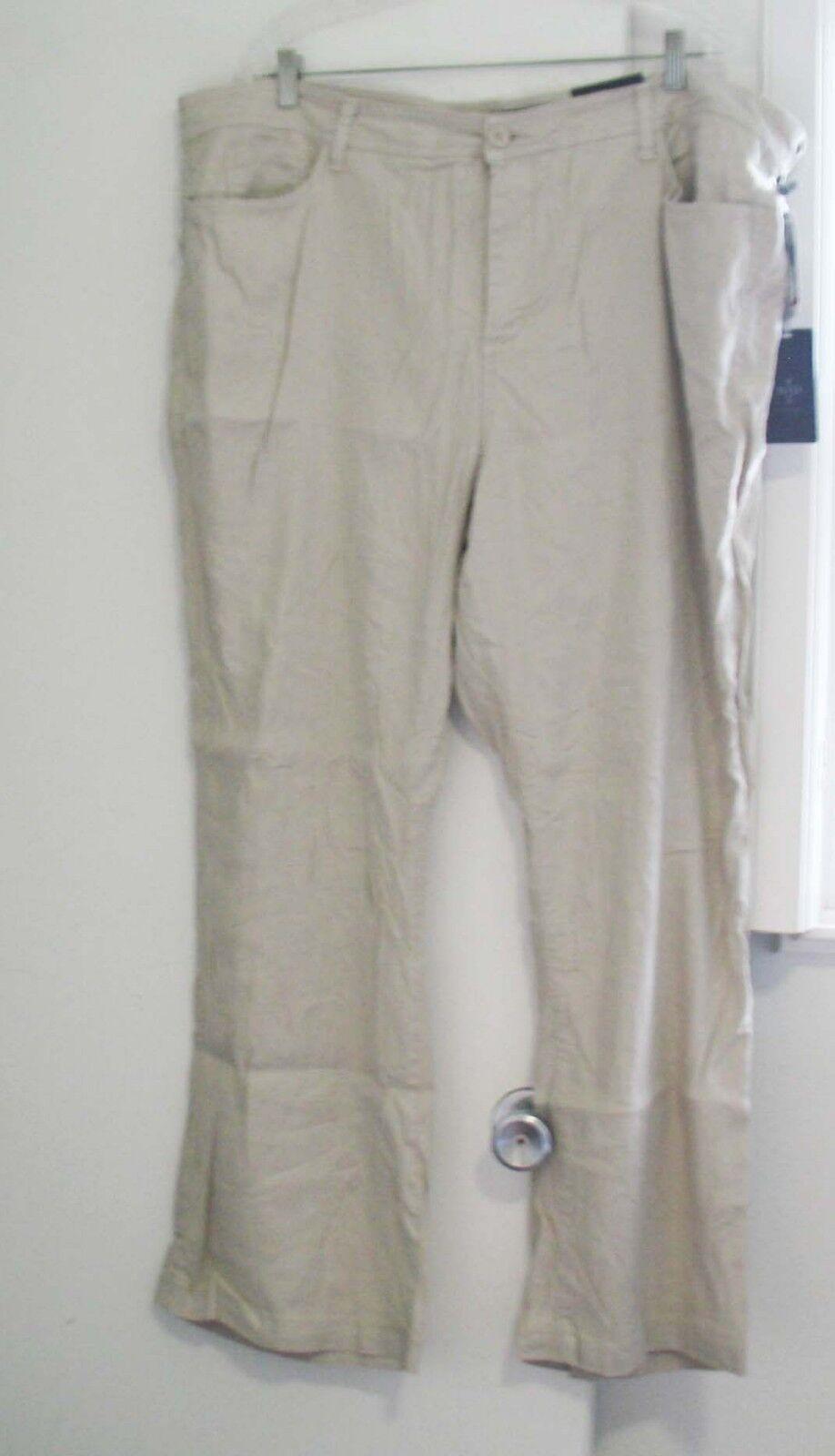 NYDJ Not Your Daughter's Jeans Plus Größe Wylie Linen Trousers Sand Dollar Sz 24W
