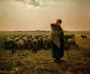 Jean-Francois-Millet-Shepherdess-With-Her-Flock-Fine-Art-Print-on-Canvas-Small