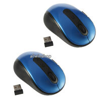 Lot2 2.4G Wireless Optical Mouse Blue + Mini USB Receiver for PC Laptop/Notebook
