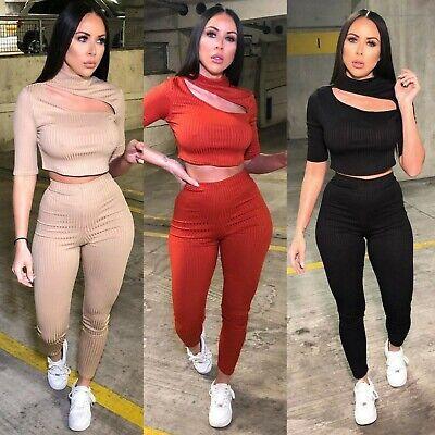 Nouveau Femmes Cable Knit Crop Top Lounge Wear Suit Femmes Co Ord 2pcs Survêtement Set