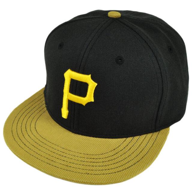 0425b9ecba7 MLB American Needle Pittsburgh Pirates Snapback Suede Flat Bill Hat Cap  Black