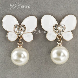 EARRINGS-STUD-9K-GF-9CT-YELLOW-GOLD-CLEAR-CRYSTAL-WHITE-PEARL-BUTTERFLY