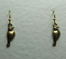 SMALL BIRD DROP EARRINGS GLASS CRYSTAL GREEN EYES GOLD PLATED HOOK EARWIRE