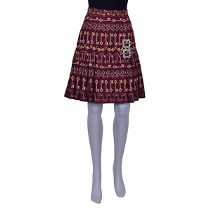 2a20f64ab5 Image is loading DOLCE-amp-GABBANA-Keys-Pleated-Jacquard-Silk-Skirt-