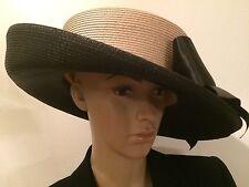 """Women's Beige/Black Bow Church Hi Fashion Straw Hat 7.5"""""""
