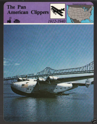 THE PAN AMERICAN CLIPPERS Airplane CARD 1979 PAN-AM