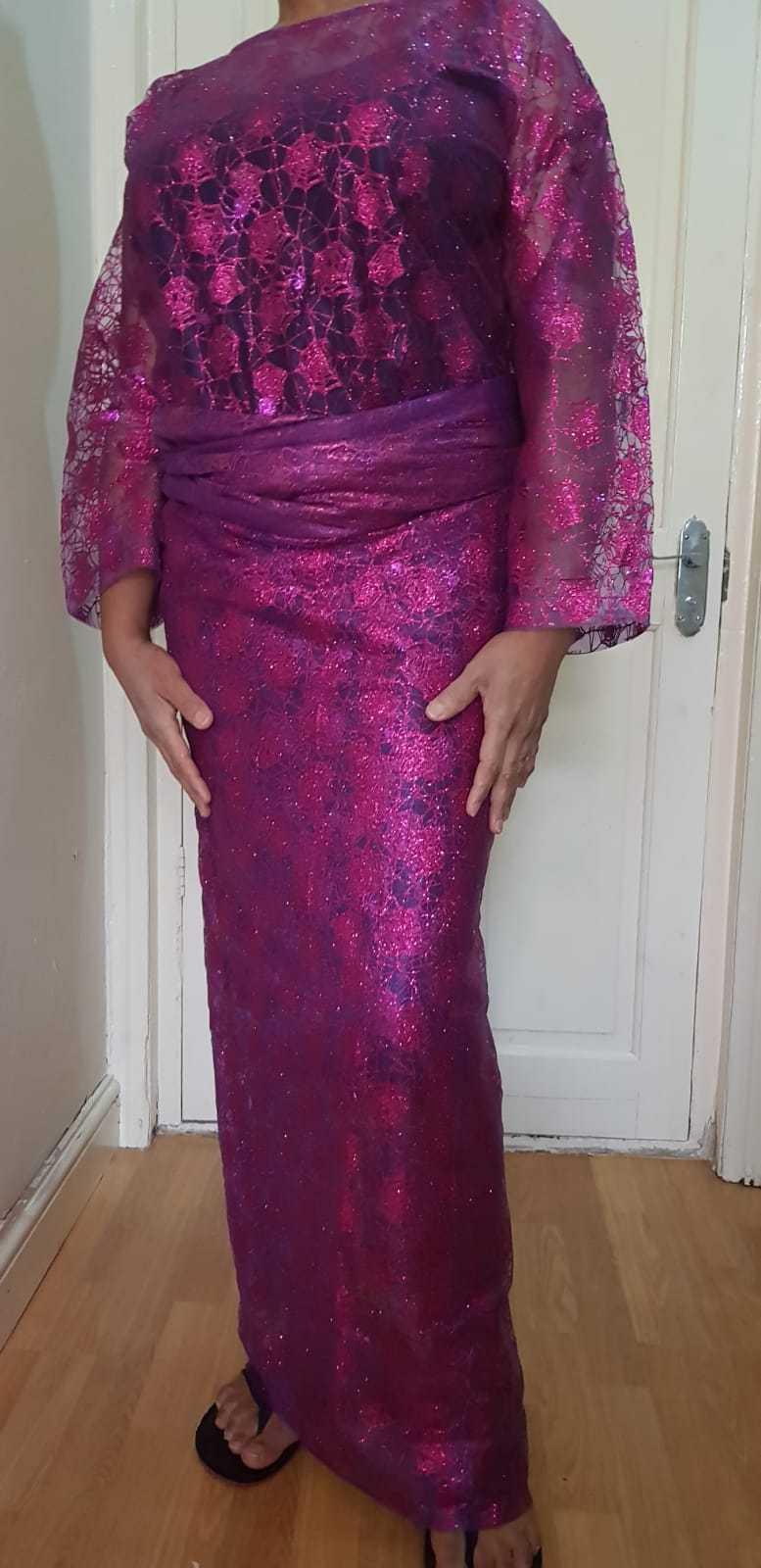 African ladies Pink Fancy/glitter Buba & Iro/ Wrapper UK Size 16