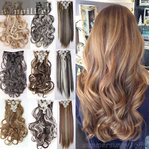 8Pcs/Set Full Head Clip in Hair Extensions Black Brown Blonde Hair Extension HG6
