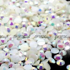 White-AB-1000pcs-Rhinestone-Beads-Flat-Back-Nail-Art-Craft-Gems