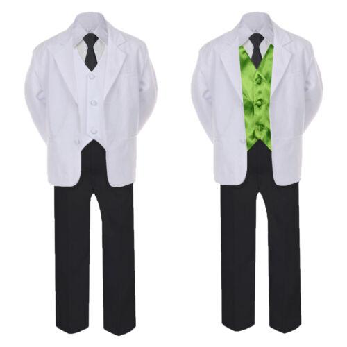 6pc Boy Formal Necktie Black White Suit Set Satin Color Vest Baby Kid Sm-4T