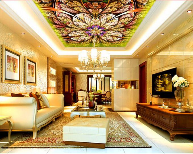 3D Farbeful Leaves 8 Ceiling WallPaper Murals Wall Print Decal Deco AJ WALLPAPER