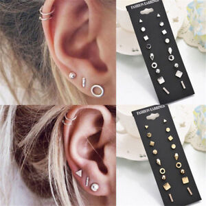Details About 9pairs Stud Earrings For Women Female Round Small Geometric Piercing Earring Set