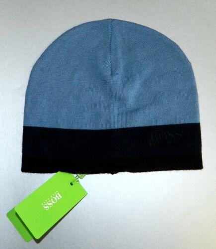 Hugo Boss Men/'s Logo Beanie Wool Blend Hat Scull Cap Blue Navy One Size New