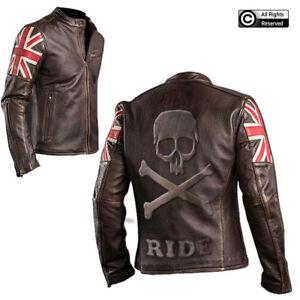 Mens Skull Embossed Motorcycle Cafe Racer Black Leather Jacket