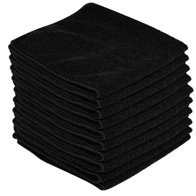 10 x BLACK CAR CLEANING DETAILING MICROFIBER SOFT POLISH CLOTHS TOWELS LINT FREE